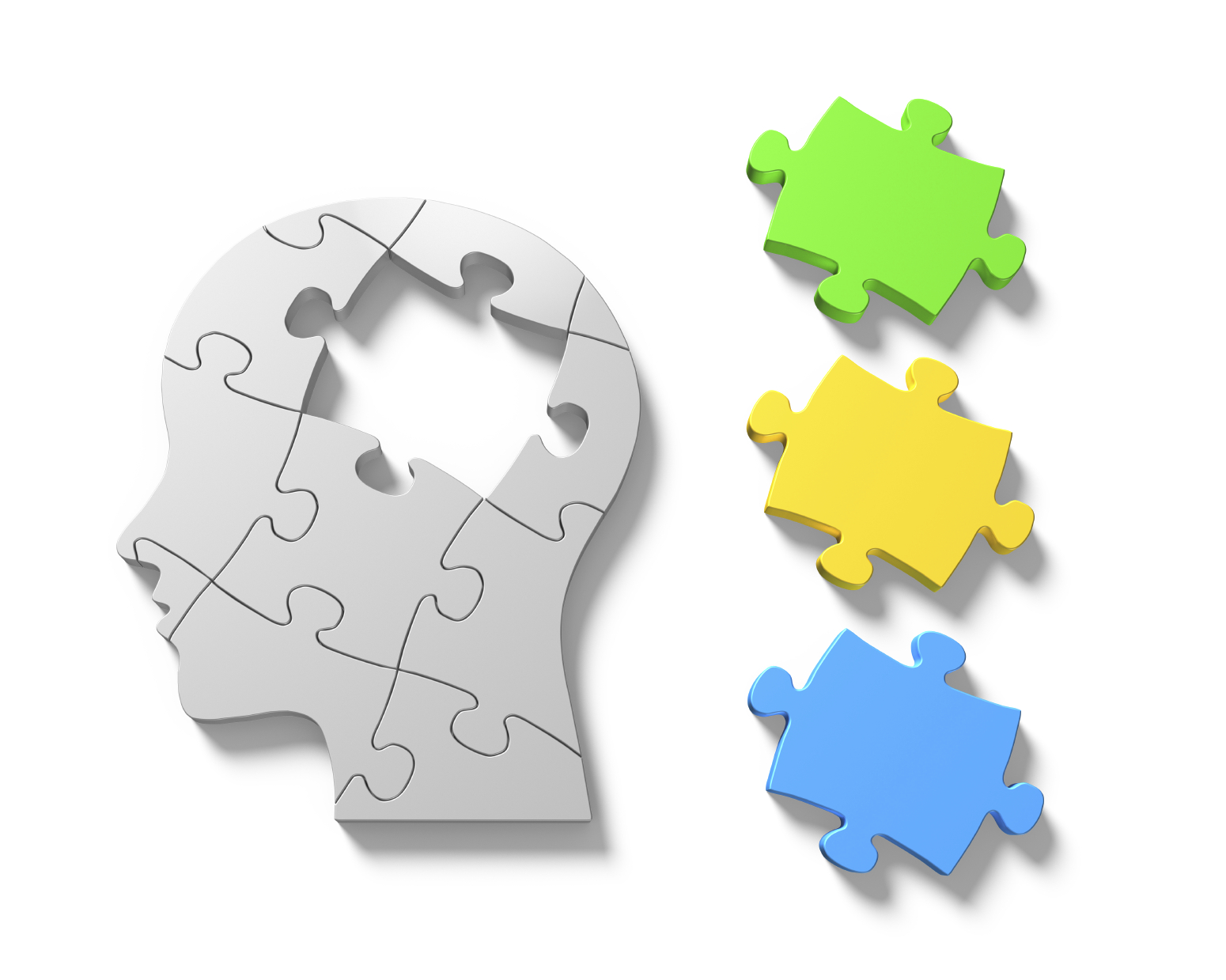 Human brain jigsaw puzzle with another three multicolor pieces